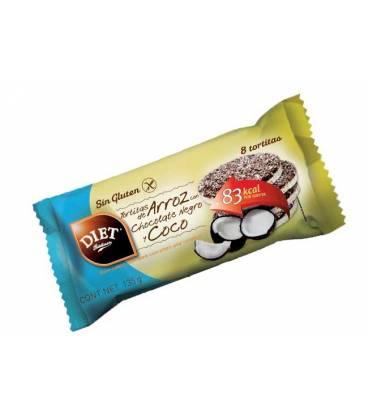 TORTITAS ARROZ, CHOCOLATE NEGRO Y COCO SIN GLUTEN 135g de Diet Radisson