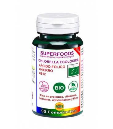 Chlorella BIO con ácido fólico, hierro y B12, 90 comprimidos de Robis