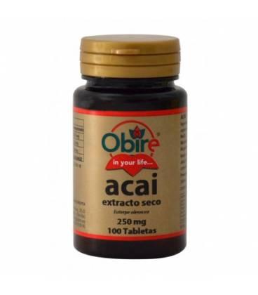 Acai extracto seco 250 mg 100 comprimidos de Obire