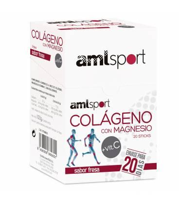 Colágeno con magnesio y vitamina C sabor fresa 20 sticks de AMLSport