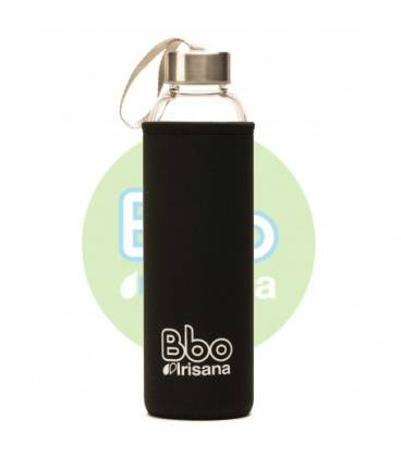 Botella bbo negro borosilicato con neopreno 550ml de Irisana
