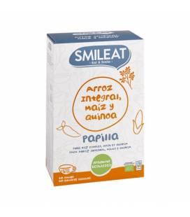 Papilla de arroz integral, maíz y quinoa BIO 230g de Smileat (+4 meses)