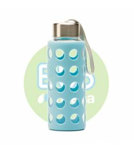 Botella Bbo azul de borosilicato con silicona 300ml de Irisana
