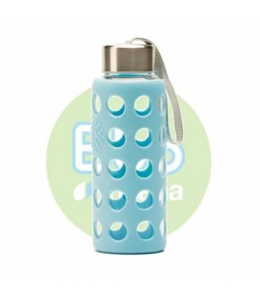 Botella bbo azul borosilicato con silicona 300ml de Irisana