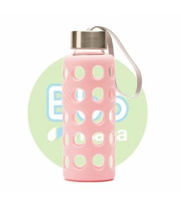 Botella bbo rosa borosilicato con silicona 300ml de Irisana