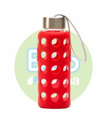 Botella Bbo roja de borosilicato con silicona 300ml de Irisana