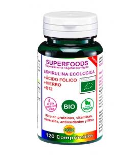 Espirulina BIO con ácido fólico, hierro y B12, 90 comprimidos de Robis